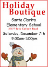 Dec. 7: Holiday Boutique at Santa Clarita Elementary