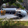 Big Rig Overturns, Spills Oil at Rye Canyon