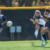 Six Mustangs Score in Win Over Mills College