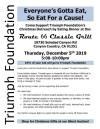 Dec. 5: Triumph Foundation's Eat For a Cause Christmas Outreach