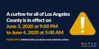L.A. County Sets Wednesday Curfew at 9 p.m.