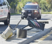 Two-Vehicle Collision Leads to Downed Traffic Light