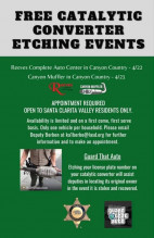 Sheriff's Station to Hold Additional Free Catalytic Converter Etching Events