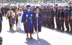 About 300 firefighters gather at the graduation ceremony for the daughter of a deceased colleague