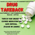 """Oct. 23: SCV Sheriff's Station Hosting """"Drug Take Back Day"""""""