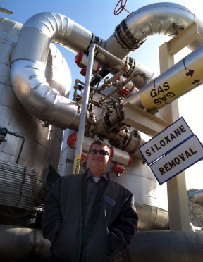Jesus Vega runs the new power plant at the Chiquita Canyon Landfill. It turns methane gas into electricity for the cities of Burbank and Pasadena.