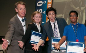 National Science Video Competition: From left: Bill Nye , Julia Kudryashev (2nd Place), Cameron Quon (1st Place), Rachit Agarwal (Peoples Choice)