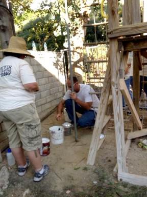 Habitat for Humanity volunteers work on the McDivitt home in September 2012.