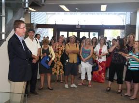File photo: City  Librarian Ed Kieczykowski (left) addresses local educators at the new library.