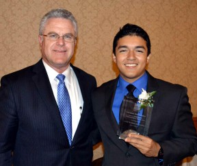 German Hernandez (right) with Hart District Superintendent Rob Challinor.