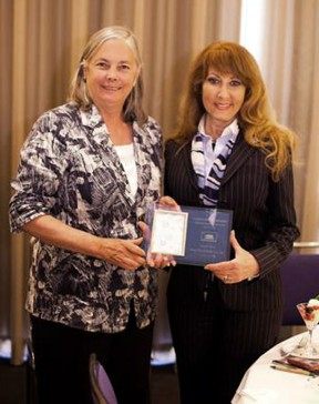 Pavley (left) in 2012  with her district's most recent Small Businessperson of the Year, UltraGlas CEO Jane Skeeter.