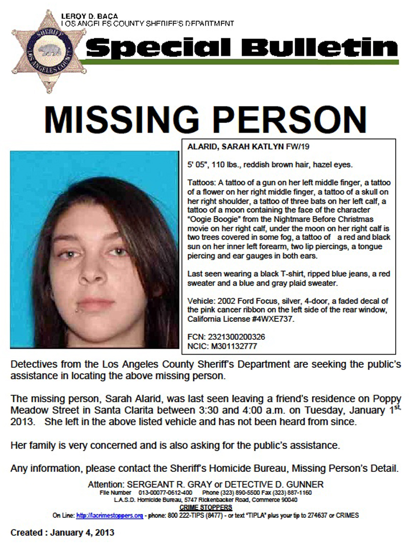 19 yr old Sarah Alarid Missing: California teen last seen leaving New Year's Eve party, report says/Sarah's car found off cliff, body found ejected 300 yds away. Body confirmed to be Sarah's & ruled an Accident. Sarahalarid010413a