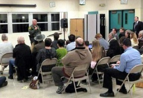 File photo: SCV Sheriff's Capt. Paul Becker speaks at a Santa Clarita town hall meeting.