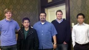 The SS12 Audio Alert System team, from left: Matt Newbill, Joshua Licudo, Ismael Gonzalez, Chris Cederstrom and Kyeong Hoon Jung.