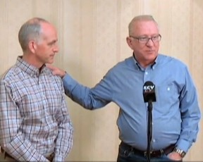 """Rep. Howard """"Buck"""" McKeon (right) with Democrat Adam Smith at a joint press conference in 2011 (Photo SCVTV)"""