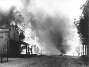 Melody Ranch burns down in 1962. (SCVHistory.com photo)