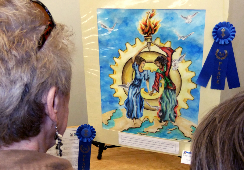 Winning artwork from a student in Santa Clarita's sister city of Sariaya in The Philippines is on display.