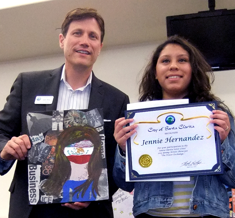 Jennie Hernandez of SCVi Charter School with Arts Commissioner John Dow.
