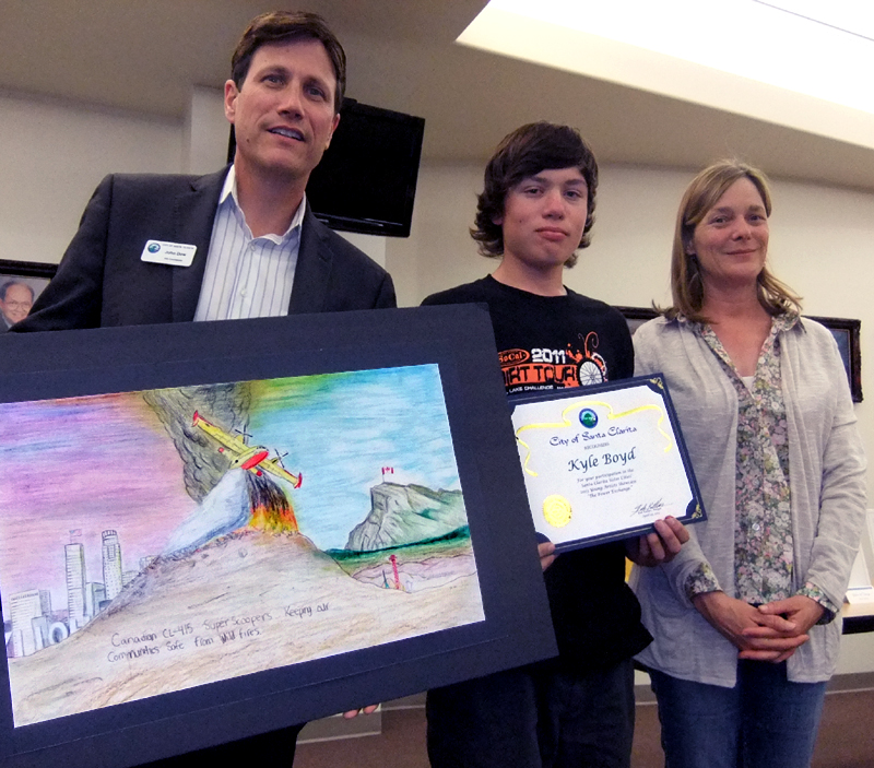 Kyle Boyd of Hart High, flanked by Arts Commissioners John Dow and Susan Shapiro.