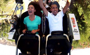 Right: SCVTV's Austin Dave shoots himself (video, that is) at Friday's media preview of Six Flags Magic Mountain's newest coaster. You'll be able to see the video in Friday night's SCV NewsBreak.