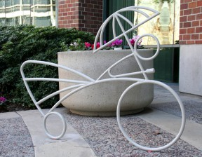 New bike racks in front of City Hall were designed by local artist Shuko Nielsen.