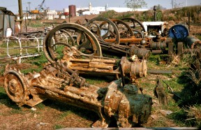 Engines are piled up in a storage yard in 1974-75 after being removed from Pico and Wiley canyons.