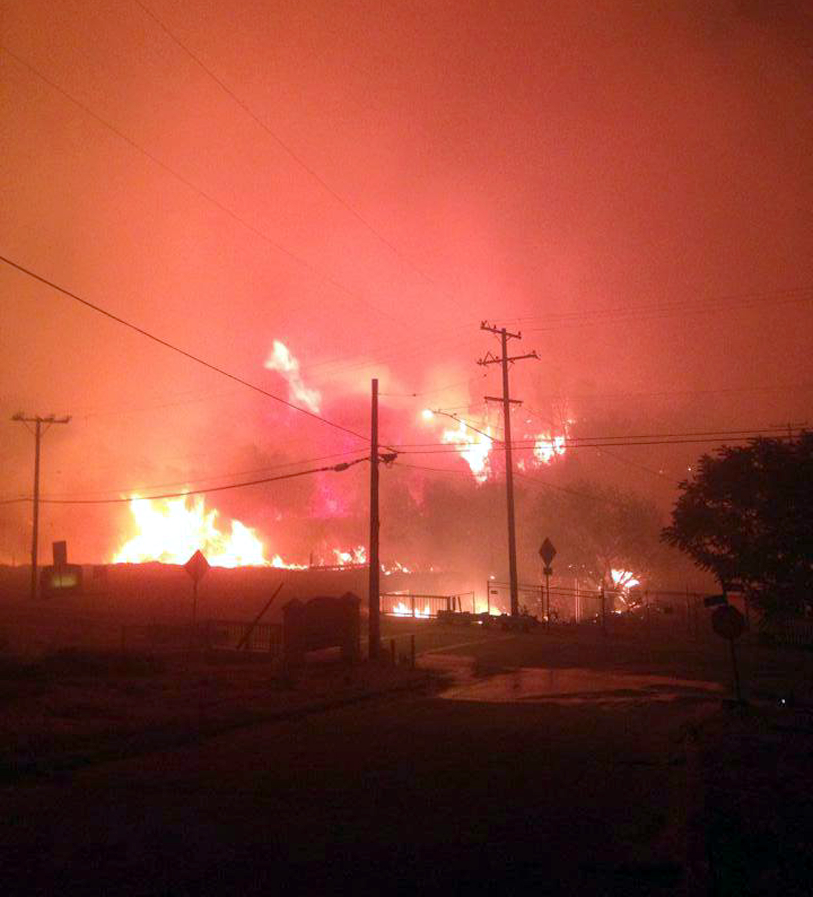 Facebook photo reportedly shows where the Lake Hughes community center was.