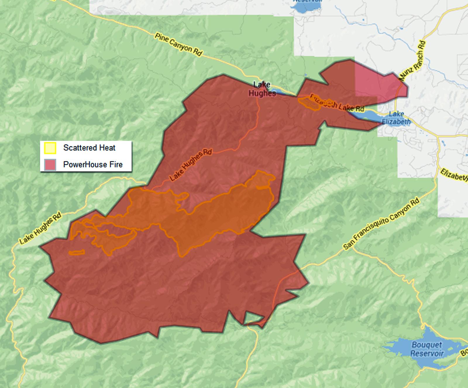 L.A. County Fire Dept.: Perimeter map, Sunday 8 p.m. ... 22,242 acres, 20 percent containment.