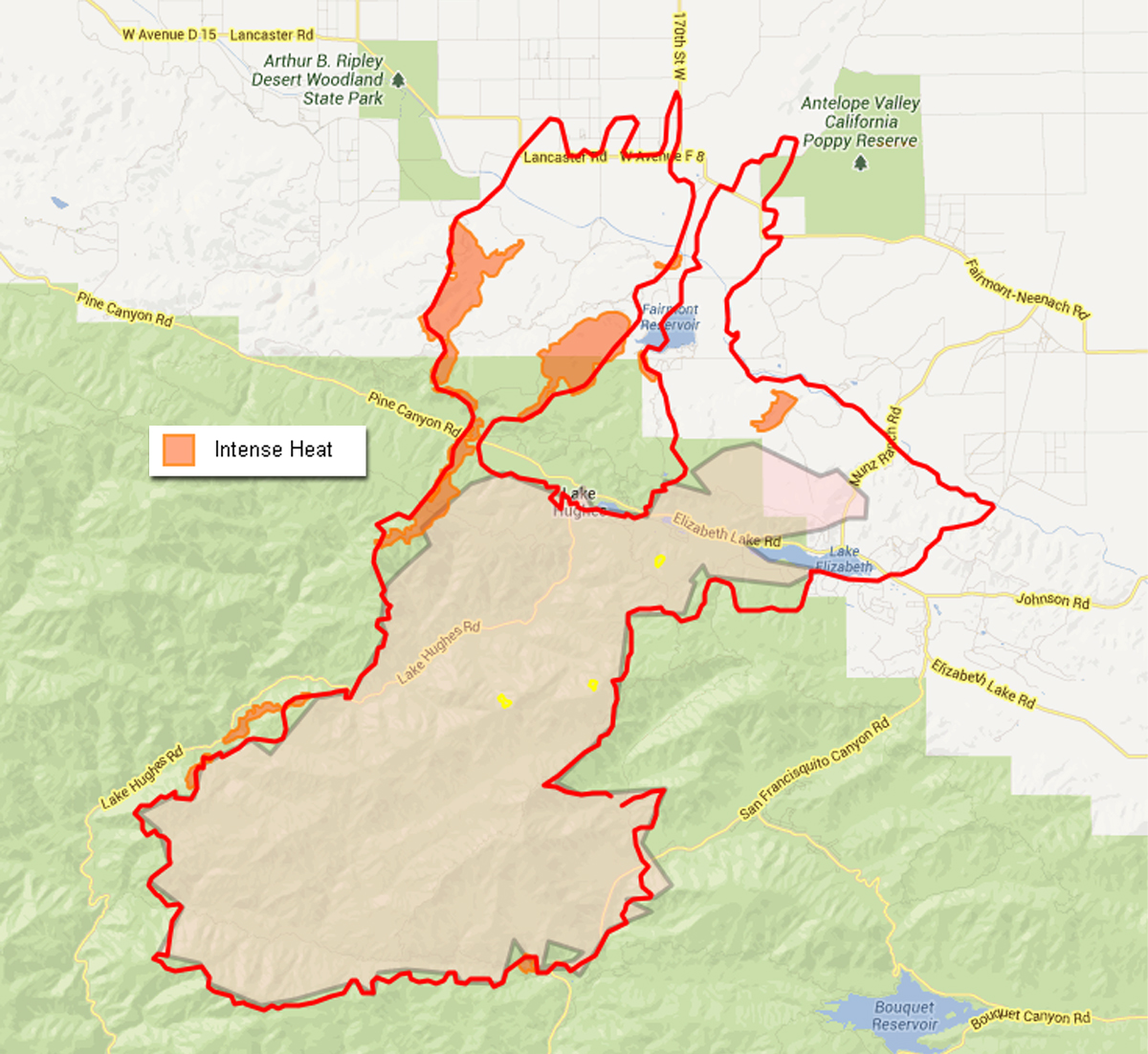 L.A. Co. Fire Dept. perimeter map, Monday 11 a.m.