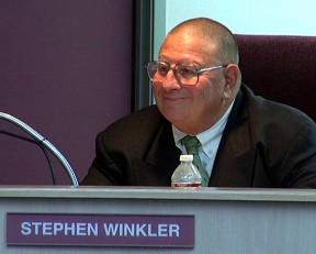 Winkler smiled through much of the meeting. (SCVTV/SCVNews.com)