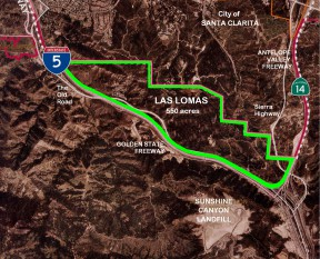 """Map from a """"Stop Las Lomas"""" website in 2007. Once slated for urban development, the city of Santa Clarita and county of Los Angeles are buying tbe property to preserve it as public parkland."""