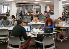 Students work in the Learning Commons. Photo: CSUN/Oviatt Library.