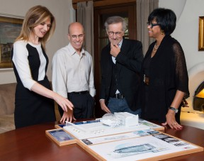 The Academy of Motion Picture Arts and Sciences received separate $10 million gifts from Jeffrey Katzenberg and Steven Spielberg for the Academy Museum of Motion Pictures. Pictured (left to right): Dawn Hudson, Jeffrey Katzenberg, Steven Spielberg and Cheryl Boone Isaacs.