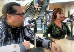 Cary Quashen discusses the Action Family Foundation with KHTS AM-1220 co-owner Jeri Seratti-Goldman on the radio station's Nonprofit Spotlight Show at the Westfield Valencia Town Center Mall. (KHTS)