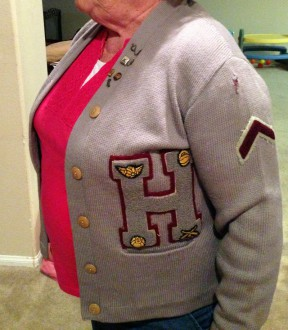 Hart High's original colors - maroon and gray - modeled by Noemi Lund (nee Noemi Duran, Class of 1951). Click for more.