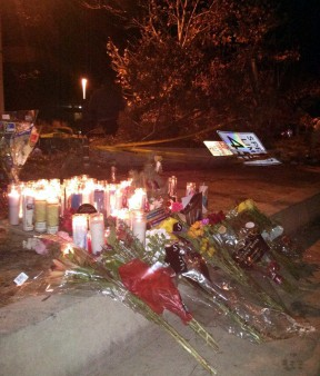 Hundreds flocked to the scene Saturday to pay their respects.