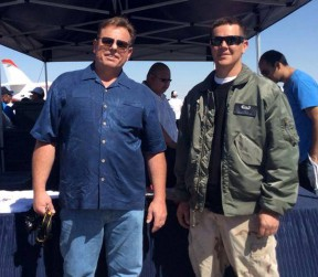 Ed Marg (left) with younger brother Travis Marg at this weekend's air show in Lancaster.