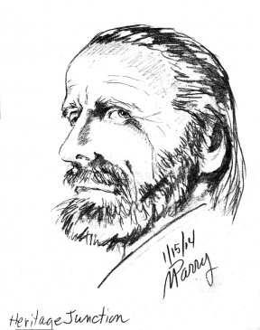 """Sketch of the """"ghost"""" occupying the Newhall Ranch House, by Marti Parry."""