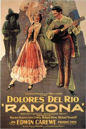 The 1928 movie poster plays to romantic notions of Old California by showing the characters of Ramona and Feilpe - but it doesn't show Alessandro or any other Indian.