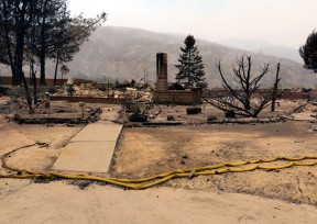 This and other homes on Newview Drive in Lake Hughes were lost when the Powerhouse Fire blew through the area June 1, 2013. Photo 6-2-2013 by Leon Worden.