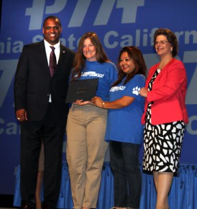 From left: Otha Thornton-National PTA President; Colleen A.R. You-California State PTA President; Jacque Anderson, Charles Helmers PTA President; Cathy Suen-Charles Helmers PTA Parliamentarian.