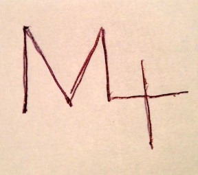 "Sketch of the Manzer family brand. (It is read ""M4,"" not M-Plus.)"