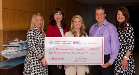 Princess President Jan Swartz (center) and Chief Medical Officer Grant Tarling (center right) present a check for $832,000 to Nickki Peavey vice president of corporate relations (from left), Kathy Rogers, executive vice president and Silke Rible, senior national accounts manager of the American Heart Association.