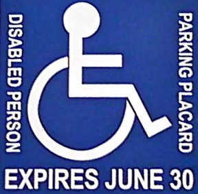 Disabled Person Parking Placard
