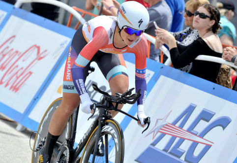 Evelyn Stevens wins the Amgen Tour of California Women's Invitational Time Trial Empowered With SRAM. Photo courtesy of Amgen Tour of California Facebook page.