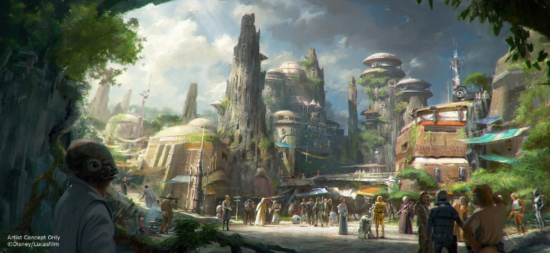 Walt Disney Company Chairman and CEO Bob Iger announced at D23 EXPO 2015 that Star Wars-themed lands will be coming to Disneyland park in Anaheim, Calif., and Disney's Hollywood Studios in Orlando, Fla., creating Disney's largest single-themed land expansions ever at 14-acres each. These authentic lands will have two signature attractions, including the ability to take the controls of one of the most recognizable ships in the galaxy, the Millennium Falcon, on a customized secret mission, and an epic Star Wars adventure that puts guests in the middle of a climactic battle. (Disney Parks) (PRNewsFoto/The Walt Disney Company)