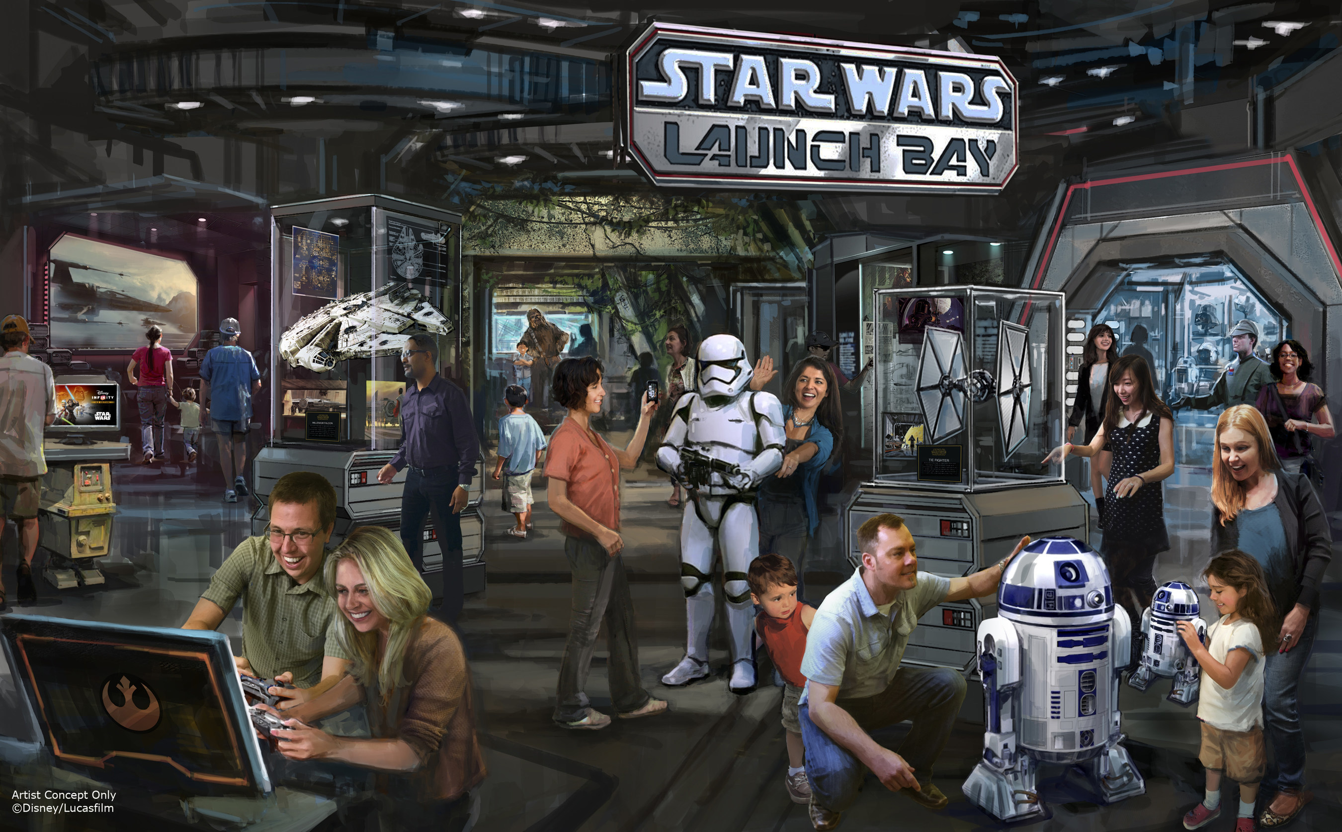 Star Wars Launch Bay Coming to Disneyland Resort and Walt Disney World Resort -- This interactive experience will take guests into the upcoming film, Star Wars: The Force Awakens, with special exhibits and peeks behind the scenes, including opportunities to visit with new and favorite Star Wars characters, special merchandise and food offerings.  Star Wars Launch Bay will be located in the Animation Courtyard at Disney's Hollywood Studios and in Tomorrowland at Disneyland park. (Disney Parks) (PRNewsFoto/The Walt Disney Company)