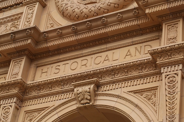 Detail of the original entrance to the Los Angeles County Museum of Natural History. The museum first opened in 1931.
