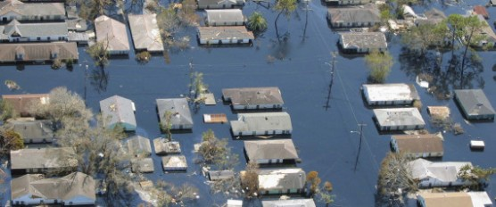 Hurricane Katrina damage. In New Orleans flood waters covered large portions of the city.