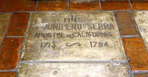 Serra's grave marker at the Carmel Mission.